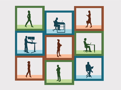 Several people in silhouette working inside of boxes. Illustration.