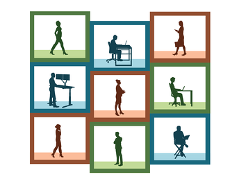 People working inside of abstract boxes. Illustration.
