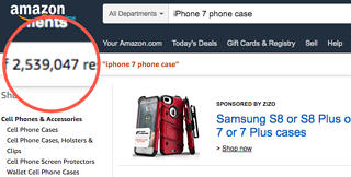 Screen shot of 2.5 million iphone case search results on amazon