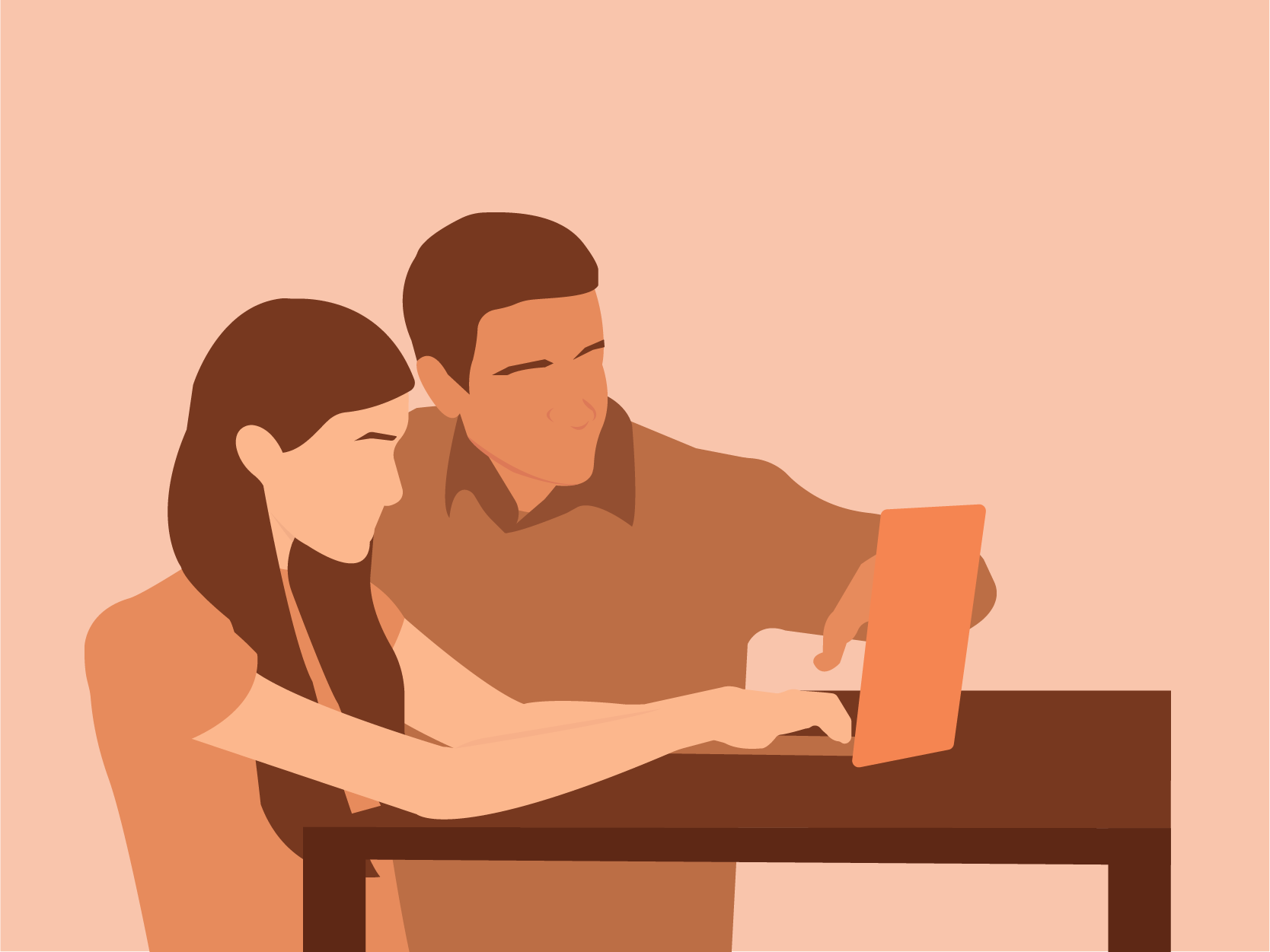 Man helping his teenage daughter on the computer. Illustration.
