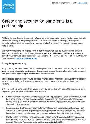 Charles Schwab security email