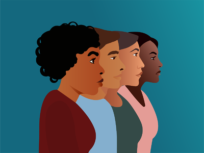 Four BIPOC employees in profile. Illustration.
