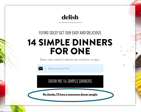 Delish email marketing pop-up-1