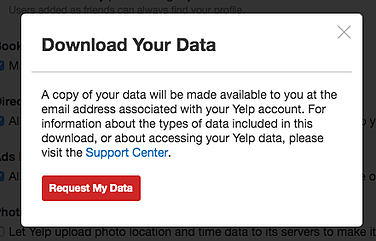 Download your data Yelp screen