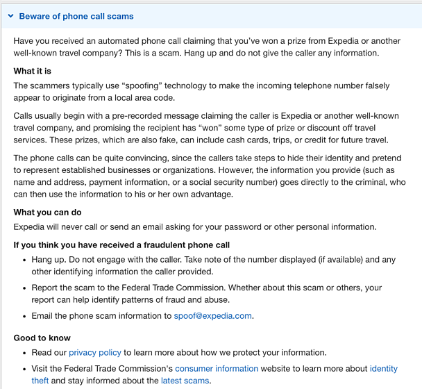 Expedia information about phone call scams