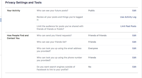Facebook privacy settings and tools menu
