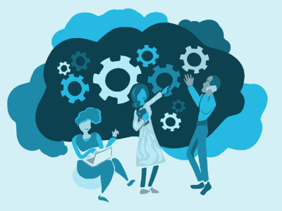Three employees working together in a cloud of gears. Illustration.