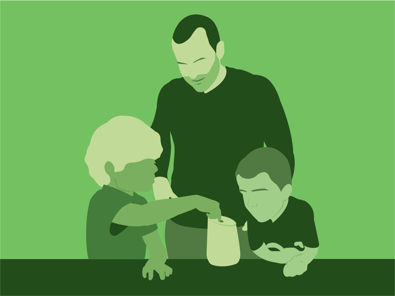 Man with two young children playing with smart speaker device. Illustration.