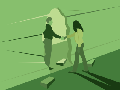Person reaching through a broken hole in a wall to help another person walk through. Illustration.