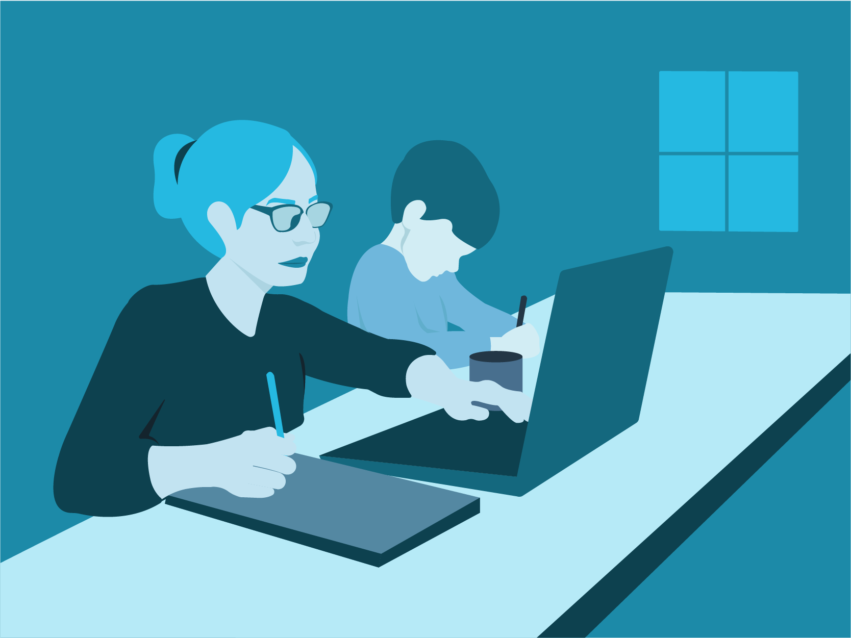 Woman working from home alongside young son. Illustration.