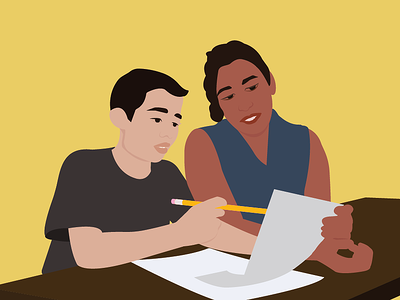 Mother and son working on homework together. Illustration
