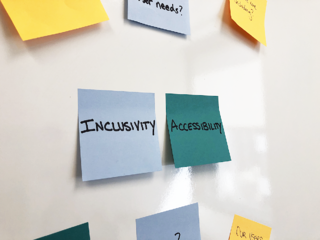 Inclusivity and accessibility workshop post its