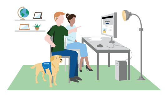 Man with hearing aid and service dog participating in research