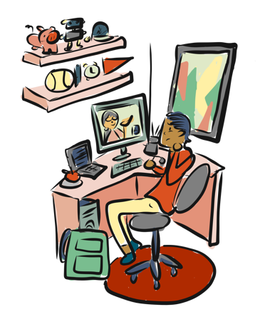 Teen boy in his bedroom on a research session