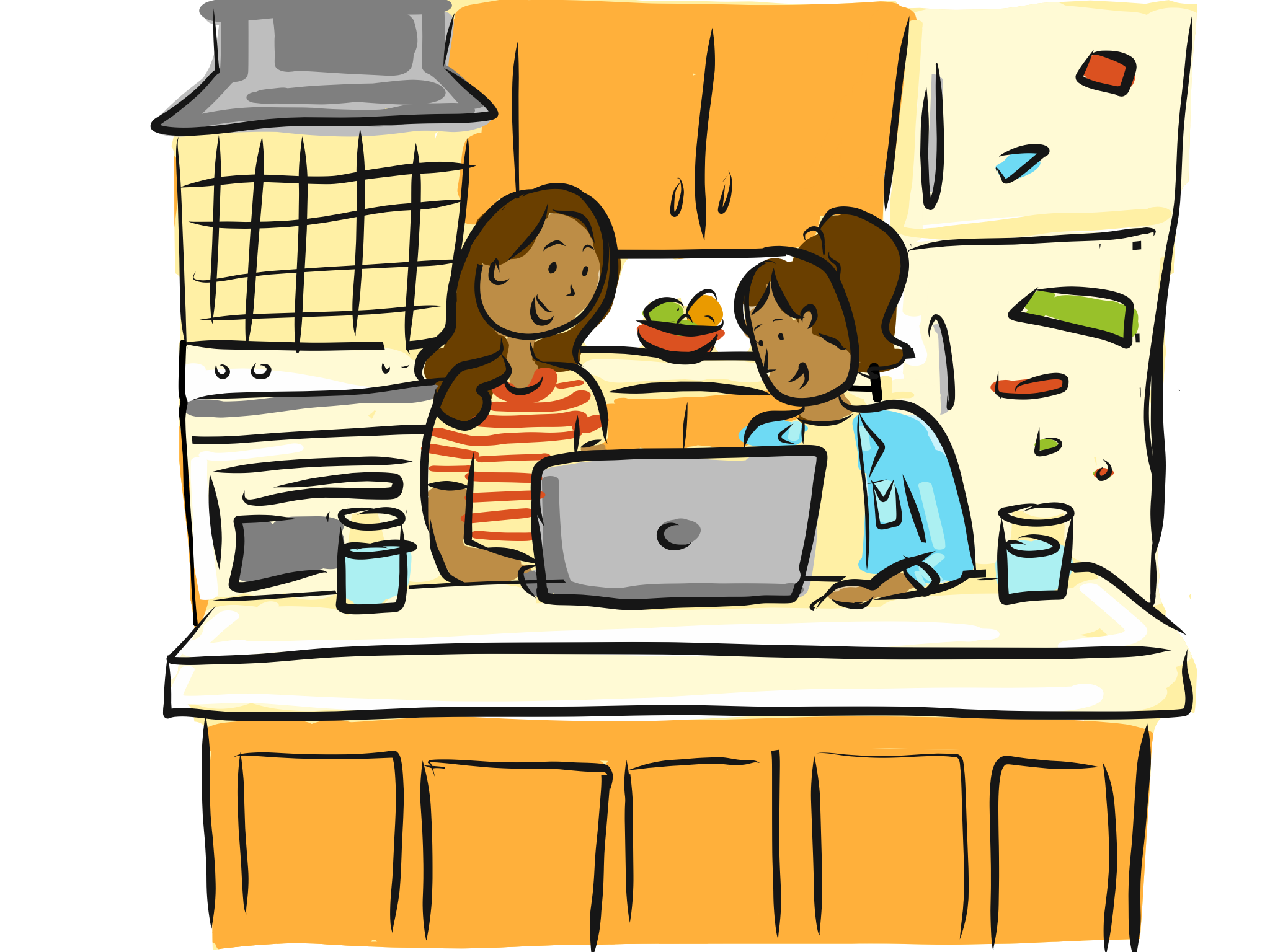 Two sisters on their laptop at the kitchen counter