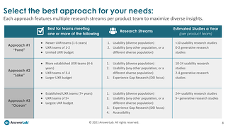 A screenshot of the report page, including a table of potential approaches to meet your needs