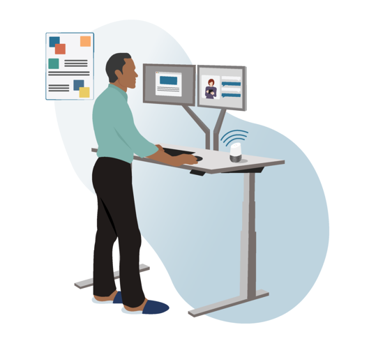 Illustration of a man at a standing desk speaking into a smart speaker