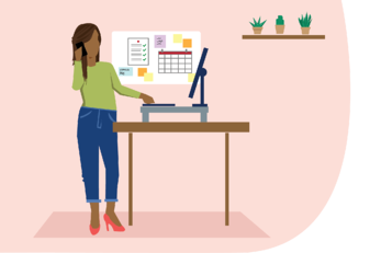 Woman working from home at desk
