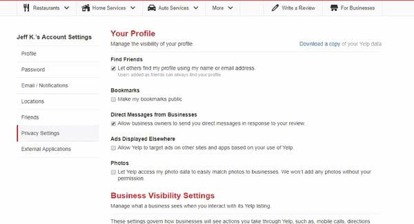 Yelp privacy settings menu