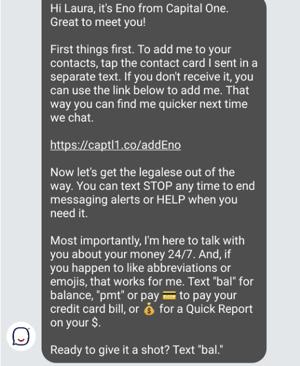 screenshot of Eno chatbot conversation