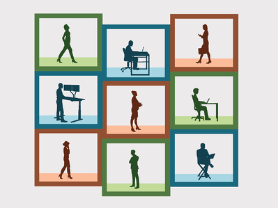 Several figures working inside of abstract boxes. Illustration.