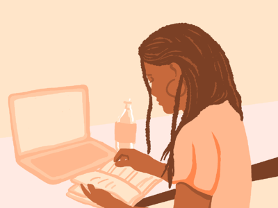 Woman working at desk. Illustration.