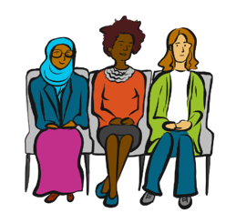 three women sitting in a row