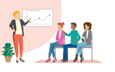 Woman presenting to three new hires in a training