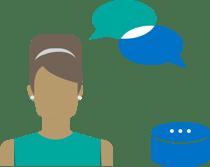 woman talking to digital assistant