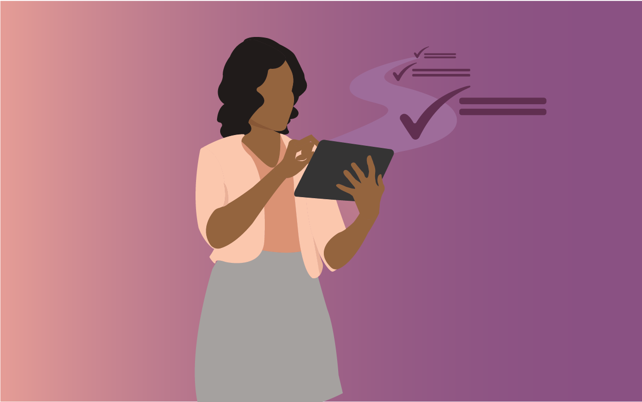 Woman on a tablet completing a series of tasks. Illustration.