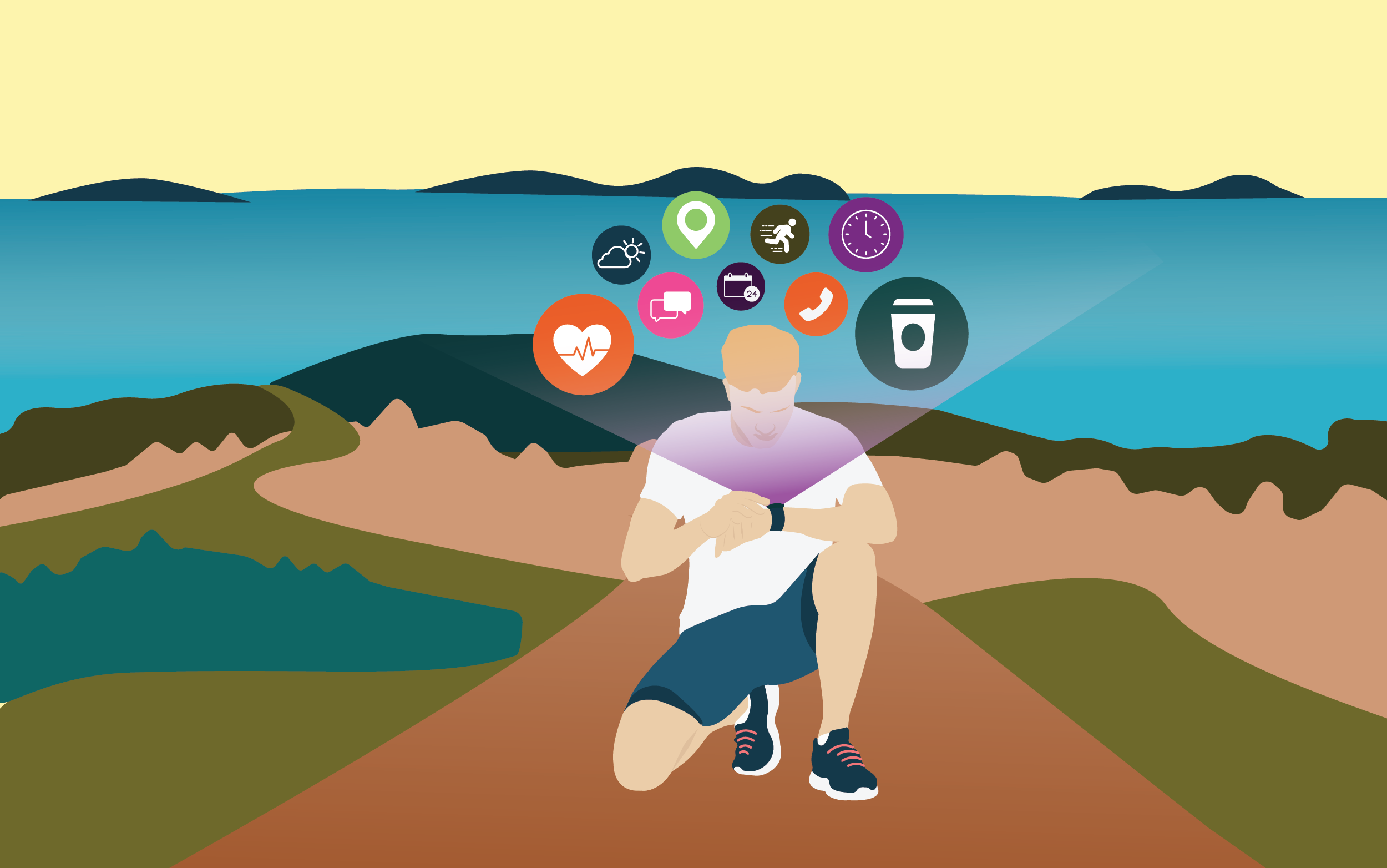 Runner stopped on the trail looking at fitness tracker with circles showing various apps floating around his head
