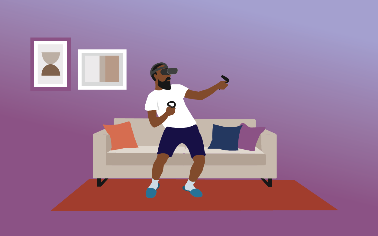 Man playing on VR headset in his living room. Illustration.