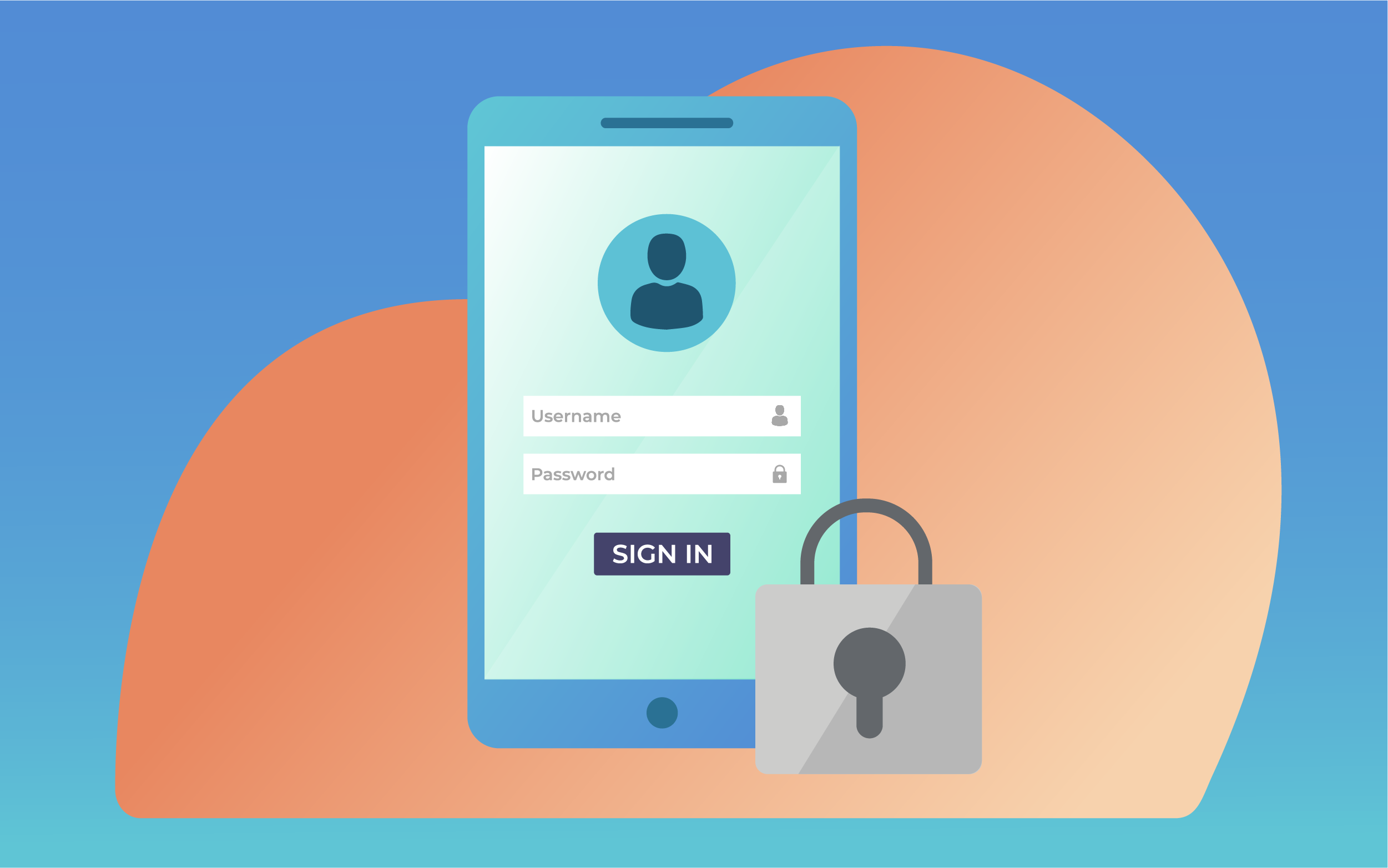 Illustration of a lock and a cell phone with an account log-in screen visible