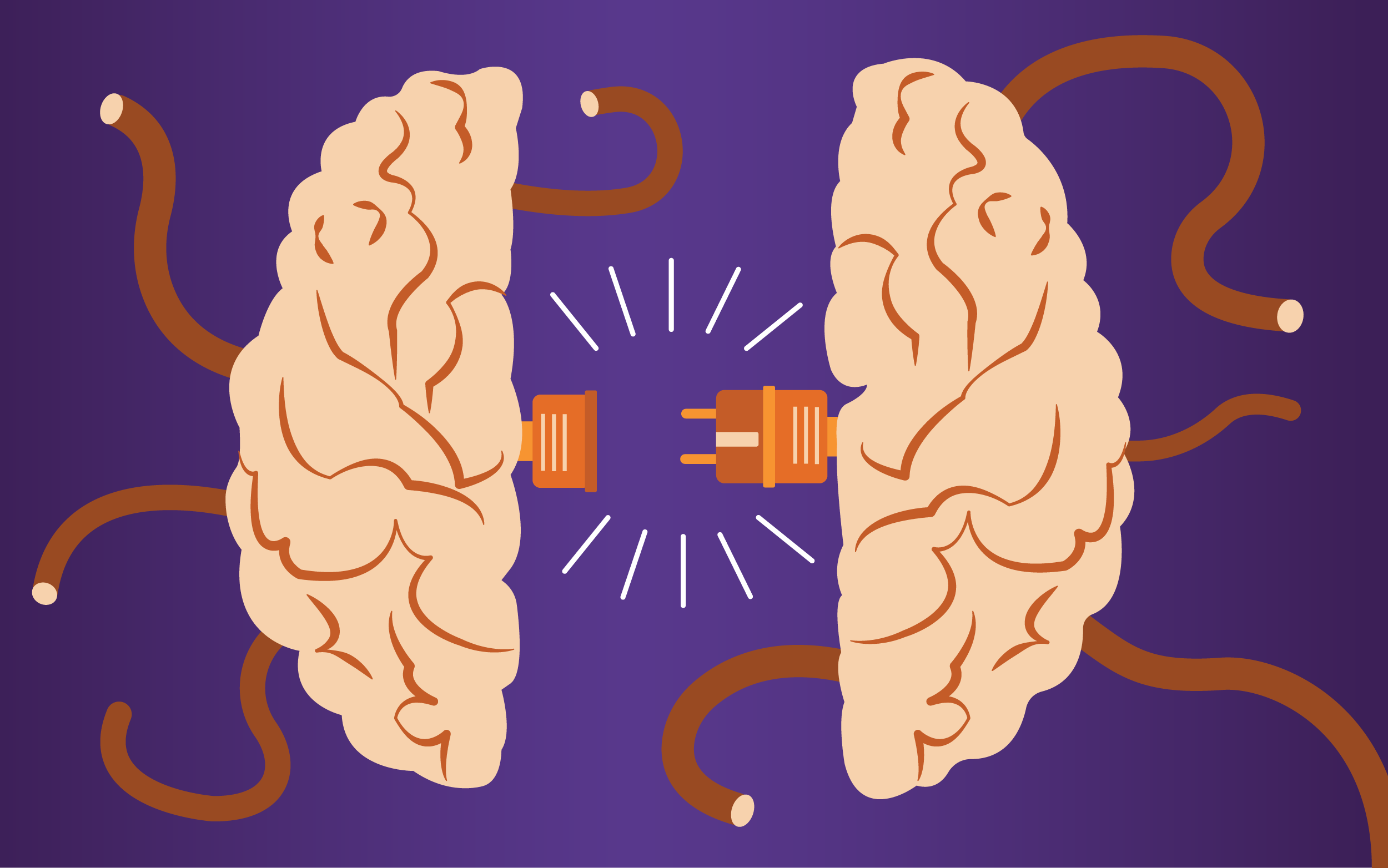 Illustration of two sides of a brain with a power plug connecting them.