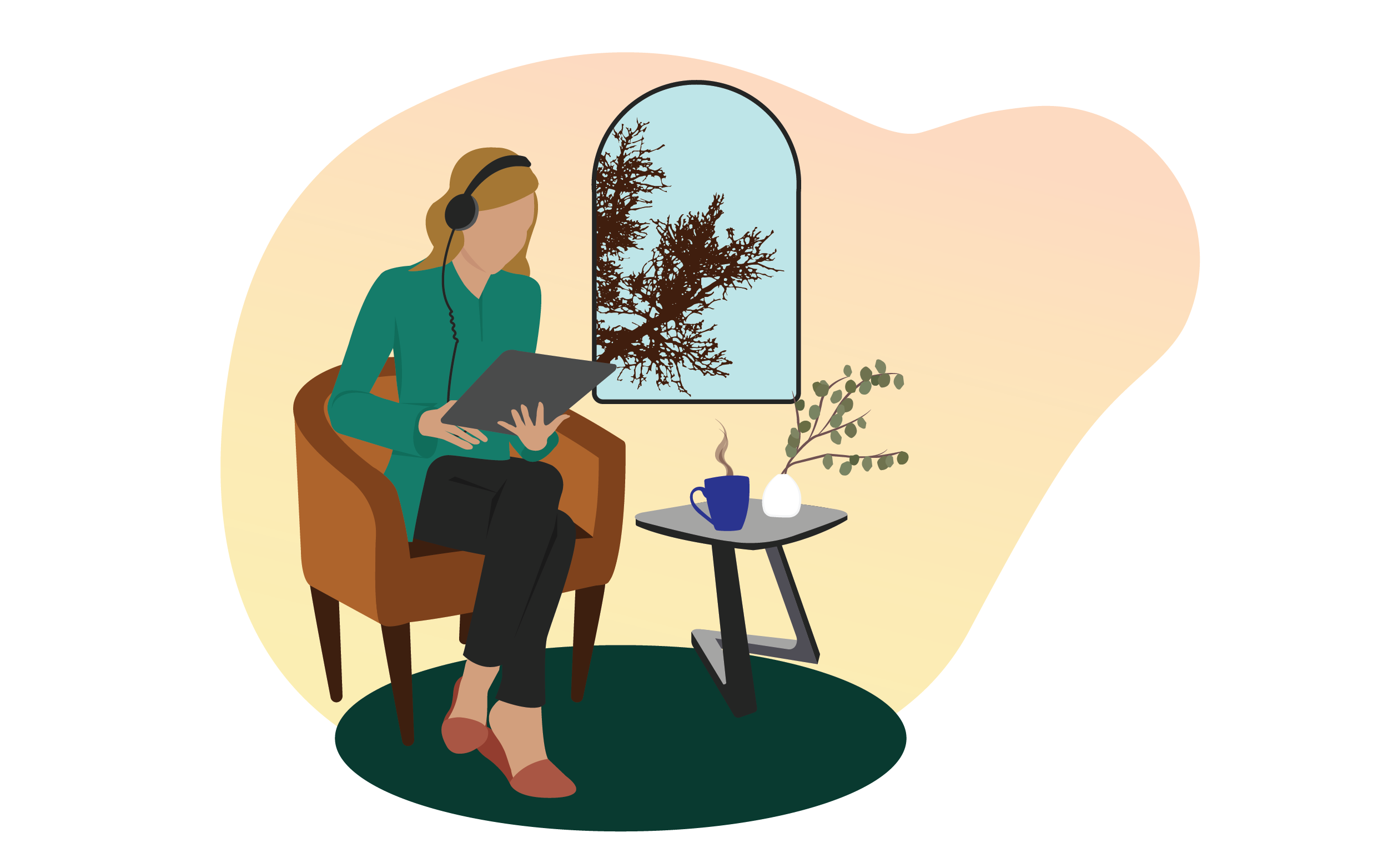Woman at home sitting comfortably wearing headphones. Illustration.