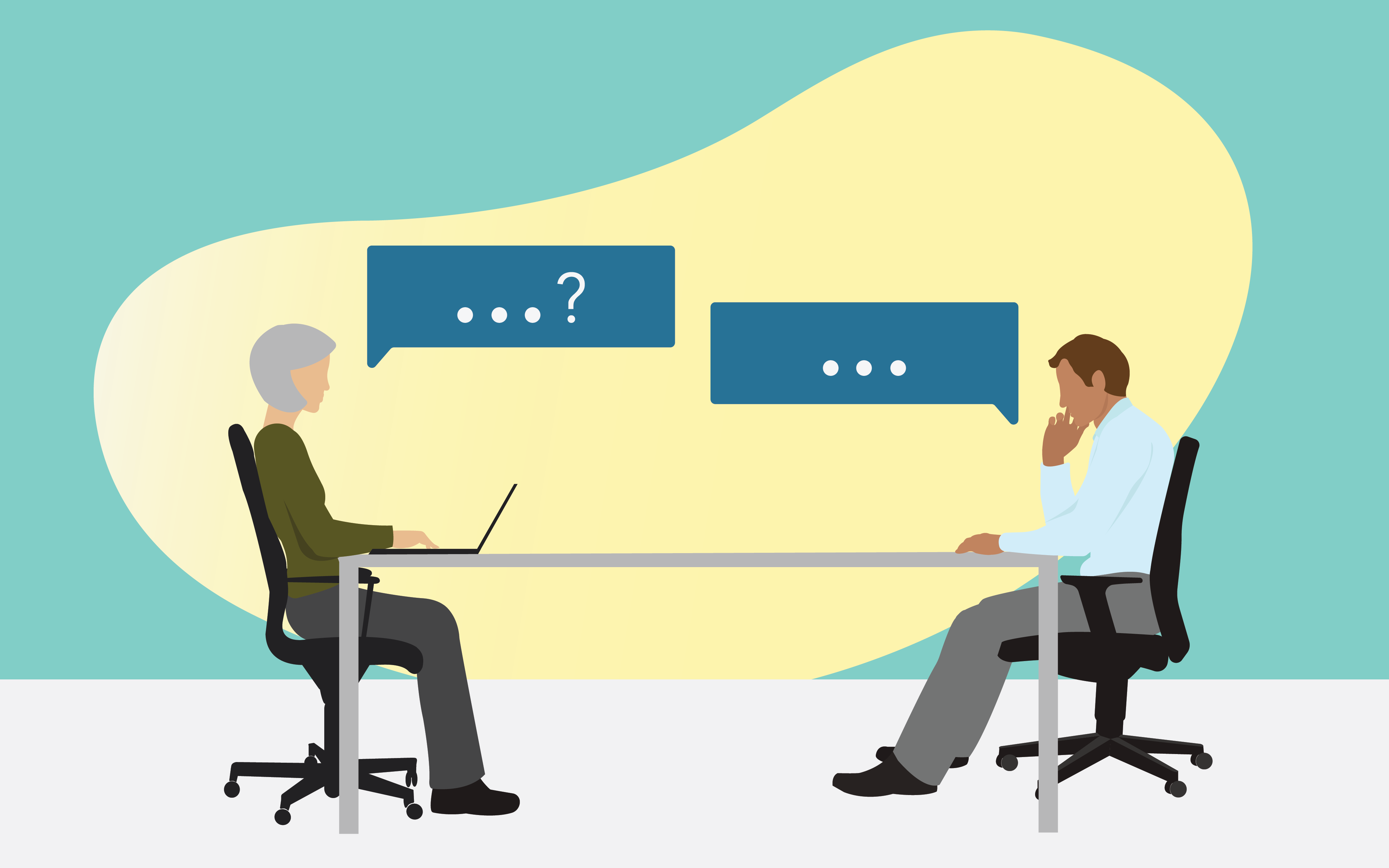 """Two people in a meeting sitting across from each other with two speech bubbles that say """"...?"""" and """"..."""". Illustration"""