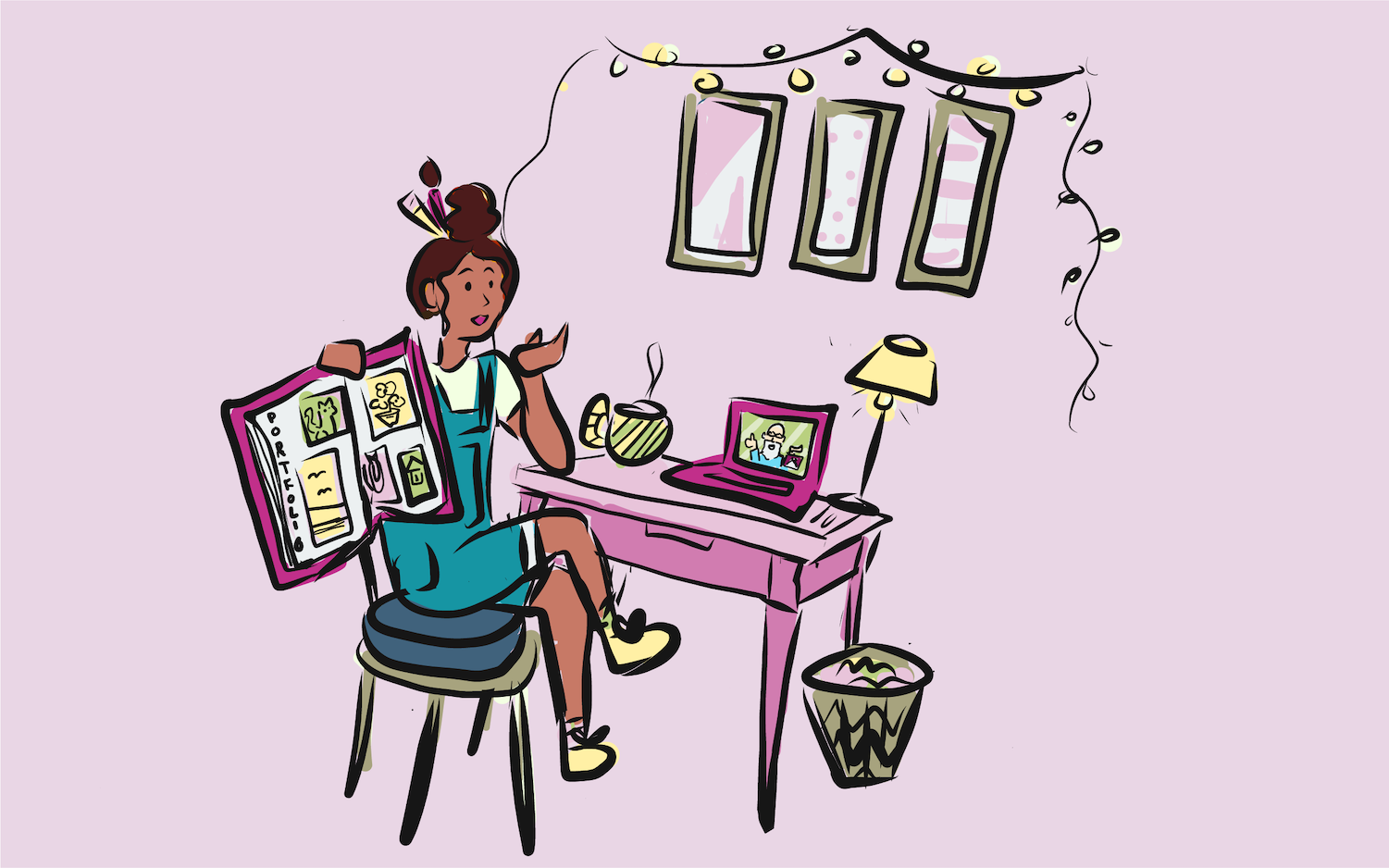 Young girl sitting at her desk participating in a research session on her laptop. Illustration.