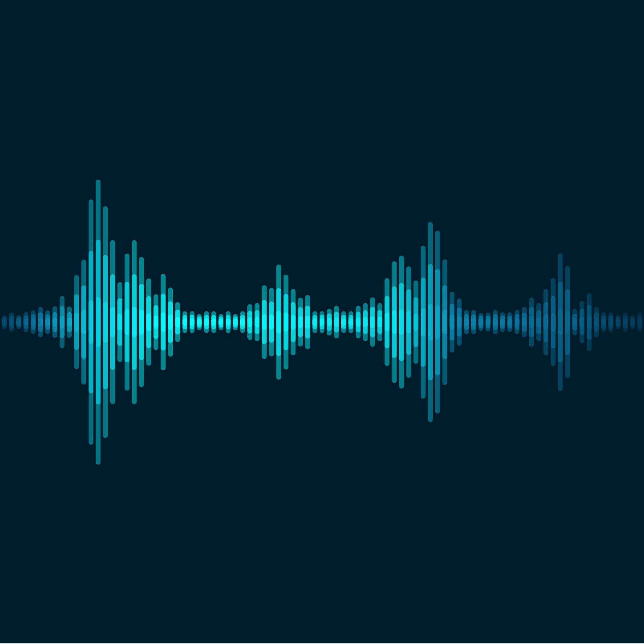 Blue sound wave on black background