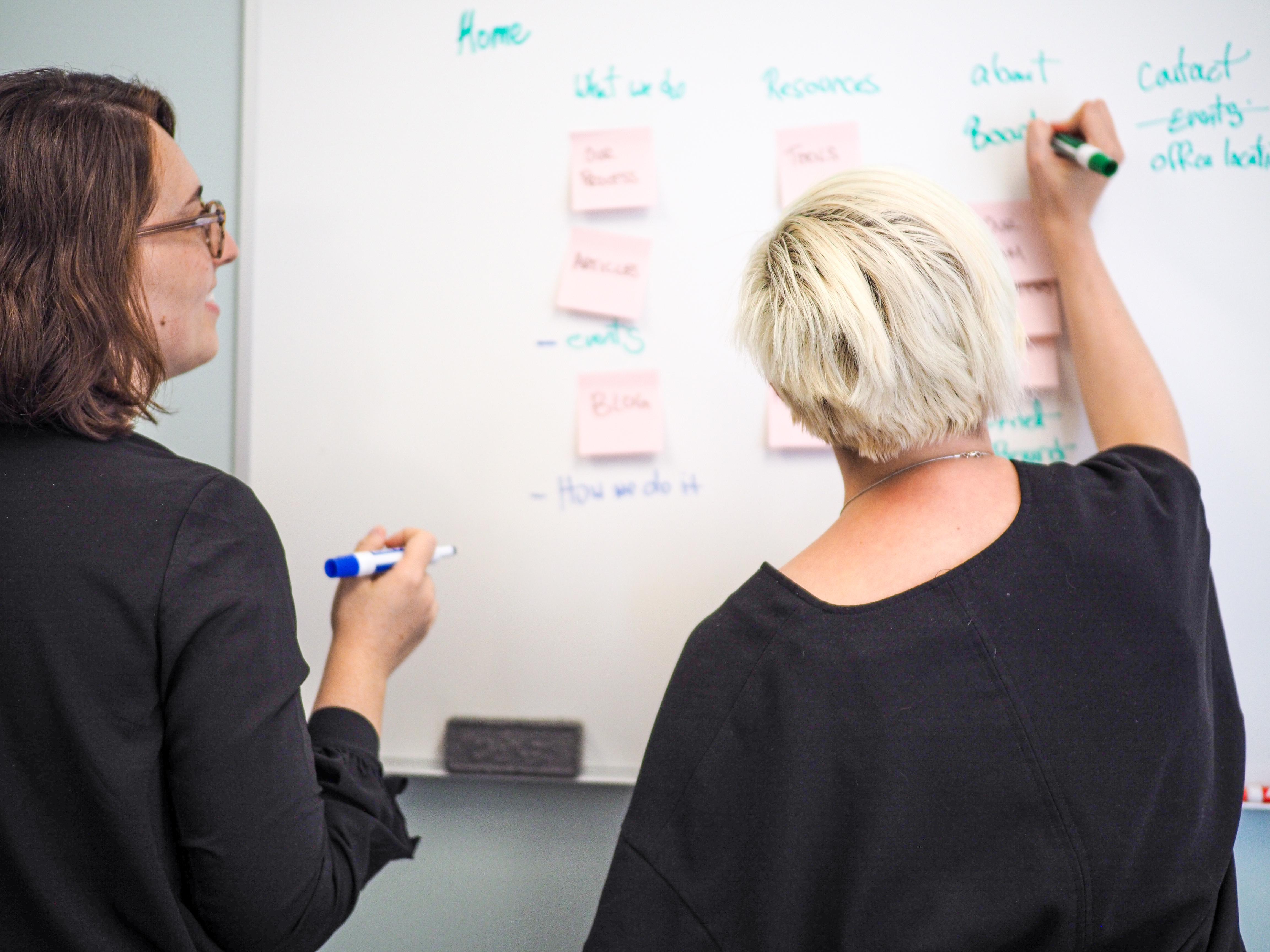 two women writing on a whiteboard
